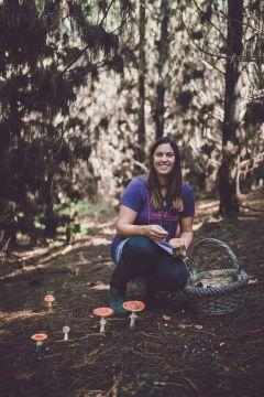 Julie with mushrooms